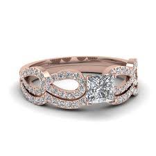 gold wedding rings sets princess cut diamond infinity loop bridal set in 14k gold