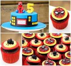 spiderman cake and cupcakes spaceships and laser beams regarding