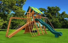 angled base extreme wood swing set eastern jungle gym