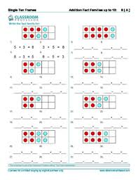 frame worksheets addition and subtraction of numbers to 10