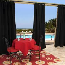 shop sunbrella canvas black outdoor curtain with tabs 50 in x 96