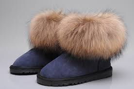 womens ugg boots navy style ugg 5854 fox fur boots mini boots navy blue