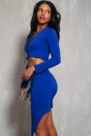 royal blue lace up long sleeve bodycon two piece party dress