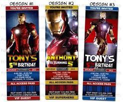 ironman super hero birthday party ticket invitations printable