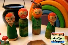 pink and green mama peg doll leprechauns u0026 st patrick u0027s day