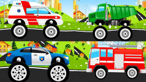 monster truck racing games online free monster truck police car ambulance fire truck for kids youtube