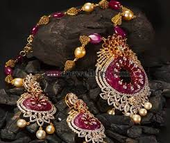 ruby pendant with gold balls jewellery designs