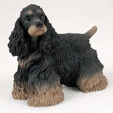 cocker spaniel painted collectible figurine statue black