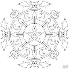 halloween mandala with pumpkins coloring page free printable