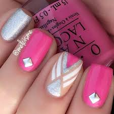 50 pink nail art designs pink nails silver glitter and pink white