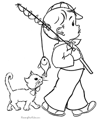 coloring pages boy fishing coloring