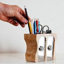 Office Desk Tidy Light Wood Pencil Sharpener Desk Tidy Stationery Storage