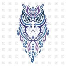 decorative ornamental owl ethnic vector clipart image