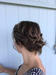 easy braided updo on chin length hair youtube