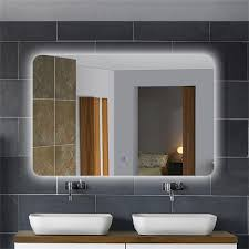 Large Bathroom Mirrors by Illuminated Large Bathroom Mirror With Silvered Mirror Bathroom
