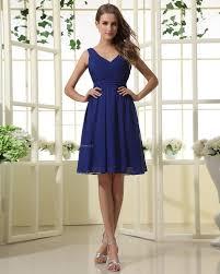 sleeveless royal blue knee length ruffles natural bridesmaid dress