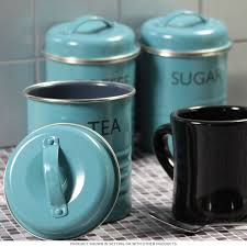 tea coffee sugar canister set blue vintage style kitchen jars