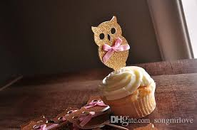 hello cupcake toppers wholesale gold fall table decor owl cupcake toppers inserts cards