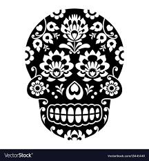 sugar skull skull with flowers vector image
