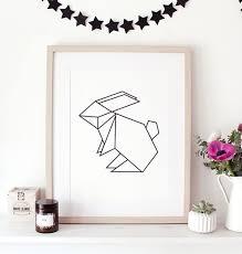 rabbit poster origami rabbit poster print handmade