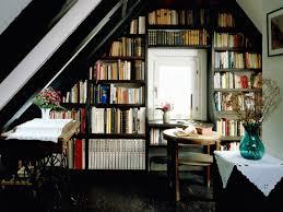 small loft apartment decorative wall shelves interior design book