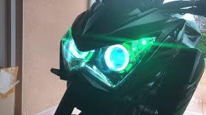 Night Eyes Lights Kawasaki Z800 Angel Eyes With Green Led Night Lights Youtube