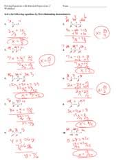 rational equations worksheet handout solving equations with rational expressions 2 key