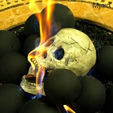 skull fireplace logs s u0027mores anyone technabob