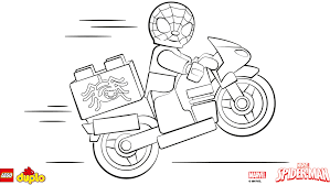 lego spiderman coloring pages riding motorcycle free coloring