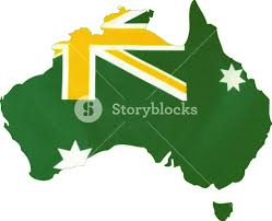 Austrslia Flag Map Of Australia With Australian Flag In Unofficial Green And Gold