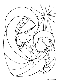 mary u0026 baby jesus u2013 coloring page pitara kids network