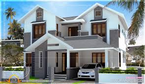 square feet slanting roof mix home kerala design cltsd feet modern sloping roof house with cost kerala home bungalow