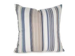 cream blue striped pillow covers beach house pillows