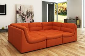 Modern Bonded Leather Sectional Sofa Divani Casa 207 Modern Orange Bonded Leather Sectional Sofa