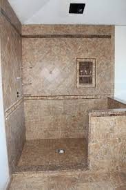bath shower with porcelain tile glass and stone accent tiles