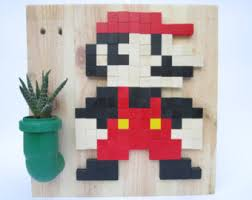 Super Mario Home Decor Mario Bros Pixel Art Etsy