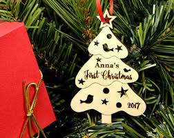 personalized wooden ornament for newlyweds engraved