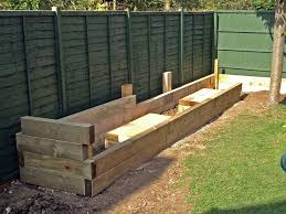 Planter Bench Seat Les Mable U0027s Raised Beds With Bench Seats From New Railway Sleepers