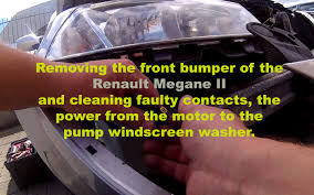 removing the bumper and windscreen washer pump repair megane ii