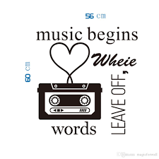 classic black music player wall art mural decor words leave off