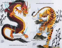 dragon vs tiger by thekarelia deviantart com on deviantart