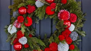 cute diy christmas wreath with pom pom balls