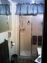 Bathroom Ideas Shower Only Small Shower Stalls With Glass Door Added By Blue Curtain And