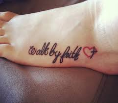 black walk by faith with cross in red heart tattoo on foot by sara