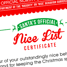 nice list certificate naughty or nice printable christmas