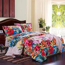 Tropical Duvet Covers Queen Peacock Blue Orange And Red Colorful Flower Country Garden