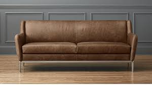 alfred distressed brown leather sofa cb2