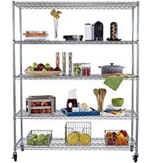 Shelves With Wheels by Amazon Com Displays2go Steel Baker U0027s Rack With Wheels 6 Wire