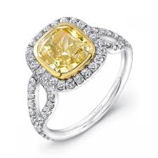 fancy yellow diamond engagement rings 2 43ct cushion cut fancy yellow diamond engagement ring lvs591