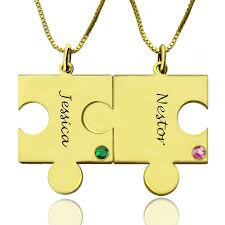 Necklace With Name And Birthstone Puzzle Necklace For Couple With Name U0026 Birthstone Gold Plate